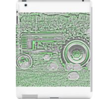 Abstract John Deere Tractor During Harvest Green and White iPad Case/Skin