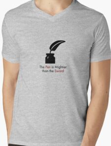 The Pen is Mightier than the Sword Mens V-Neck T-Shirt