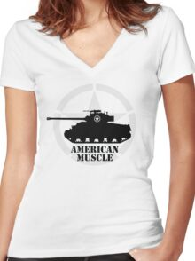 American Muscle WW2 Women's Fitted V-Neck T-Shirt