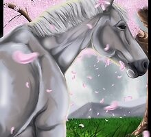 Horse Cherry Blossoms  by Juctoo