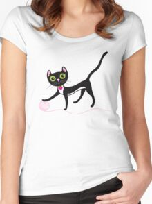 Cat with Yarn Women's Fitted Scoop T-Shirt