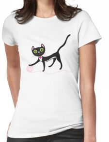 Cat with Yarn Womens Fitted T-Shirt