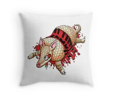 Roadkill Armadillo Throw Pillow
