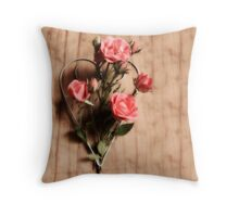 Wire Heart with Roses Throw Pillow