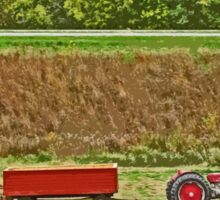 Old Classic Red Tractor and Wagon Trailer on Farm During Harvest Sticker