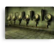 Toilets are cleaned hourly Canvas Print