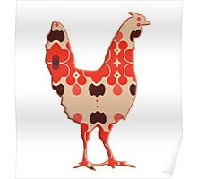 Rooster Cock Silhouette retro Poster