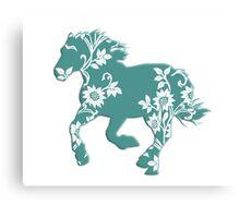 Horse Silhouette flowers Canvas Print