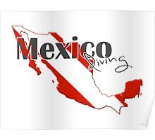 Mexico Diving Diver Flag Map Poster