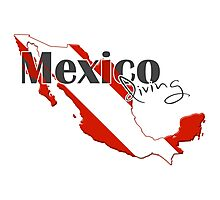 Mexico Diving Diver Flag Map Photographic Print