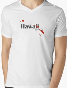 Hawaii Island Diving Diver Flag Map Mens V-Neck T-Shirt