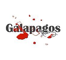 Galapagos Islands Diving Diver Flag Map Photographic Print