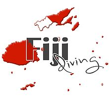 Fiji Islands Diving Diver Flag Map by surgedesigns