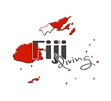 Fiji Islands Diving Diver Flag Map Photographic Print