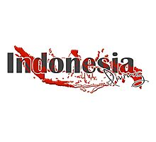 Indonesia Diving Diver Flag Map Photographic Print