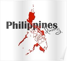 Philippines Diving Diver Flag Map Poster