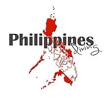 Philippines Diving Diver Flag Map Photographic Print