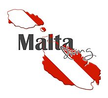 Malta Islands Diving Diver Flag Map by surgedesigns