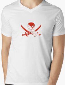 Scuba Diving Pirate Skull and Swords Mens V-Neck T-Shirt