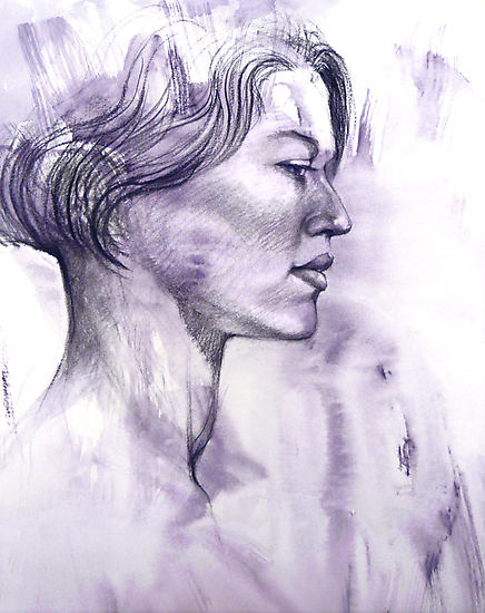 Portrait drawing of a Young Woman by Roz McQuillan