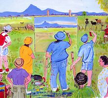 En Plein air... or pesky sticky beaks , or , It won't win the Archibald though will it! by Virginia McGowan