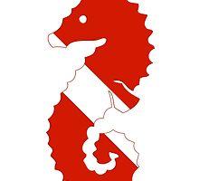 Seahorse Scuba Diver Silhouette by surgedesigns