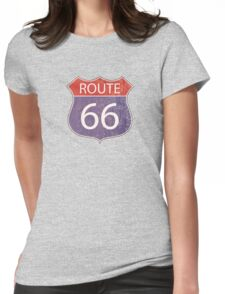 Route 66 Road Sign Womens Fitted T-Shirt
