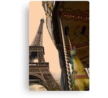 Riding out of the past on a merry-go-round Canvas Print