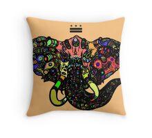DC Elephant BLK orange ALT Throw Pillow