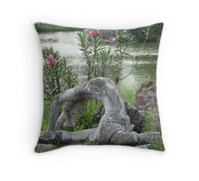 yoga in the park Throw Pillow