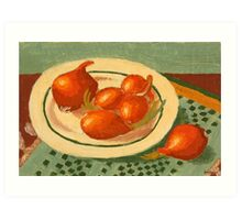 Plate with onions Art Print