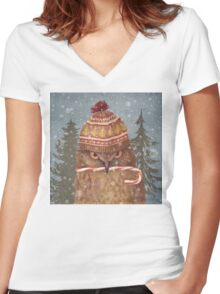 Christmas Owl  Women's Fitted V-Neck T-Shirt