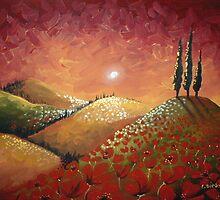 Sunset over Red Poppy Field by Cherie Roe Dirksen