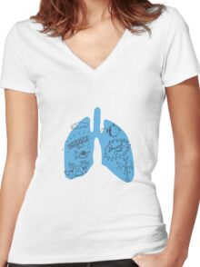 Lungs Women's Fitted V-Neck T-Shirt