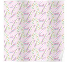 Pink Pastel Christmas Candy Cane Poster