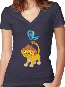 Leo and Butterfly Women's Fitted V-Neck T-Shirt