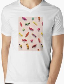 Sweet Candy Painted Pattern Mens V-Neck T-Shirt