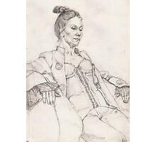 Woman in a jacket - pencil drawing Photographic Print
