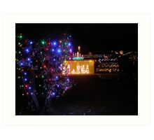 A Manger in a Stable! Christmas Lights in a garden. Adelaide Hills. Art Print