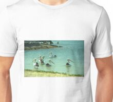 Pelicans by the shore  Unisex T-Shirt