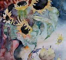Sunflower Original Watercolor by lily pang