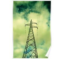 Green Power Lines Poster