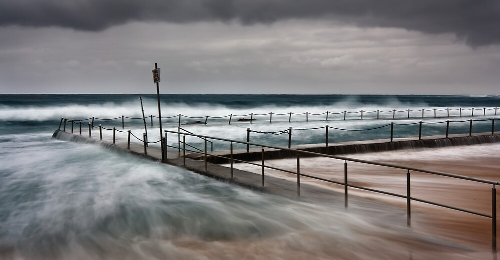 Newport Pool on a Stormy Crappy Morning by Brent Pearson