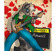 Rockin out racoon Photographic Print