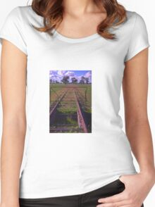 old railway tracks Women's Fitted Scoop T-Shirt