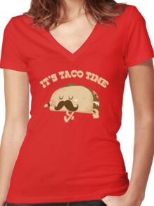 Taco Time! Women's Fitted V-Neck T-Shirt