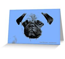 mops puppy pup baby blue Greeting Card
