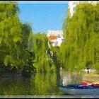 Park, lake with a boat by DavidGlez