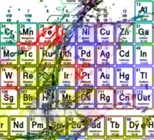 Colorful Periodic Table Of The Elements  with liquid splatters. Sticker