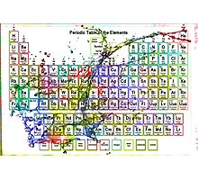Colorful Periodic Table Of The Elements  with liquid splatters. Photographic Print